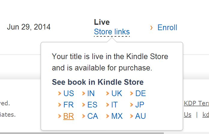 kindle notification that book is live all over the world ... enlarged