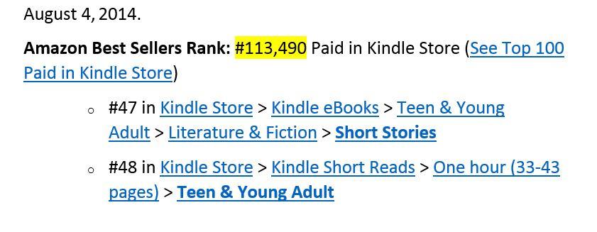 August 4 2014 Amazon Ranking