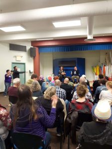 Lorraine Reguly and David Belrose speaking at the Waverly Resource Library