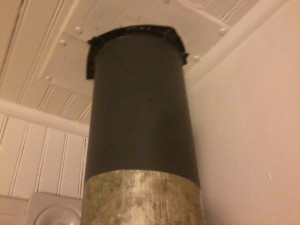 This is a picture that shows a close-up of the prepped pipe.