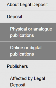 Legal Deposit Sidebar Menu of Options