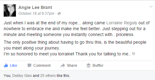 Angie Brant's FB posting about me