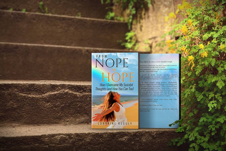 books of From NOPE to HOPE sitting on steps